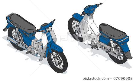 Motor scooter isometric color vector illustration, isometric scooter vector, Blue scooter motorcycle 67690908