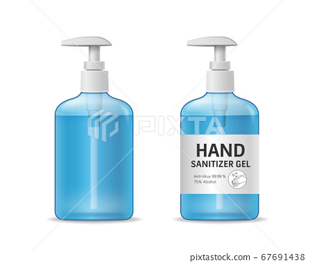 Alcohol sanitizer gel bottle template collections, hand wash design isolated 67691438