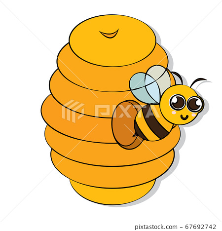 Cute bee on a honeycomb 67692742