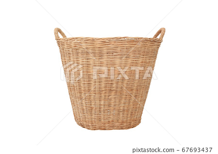 rattan wicker basket isolated on white background 67693437