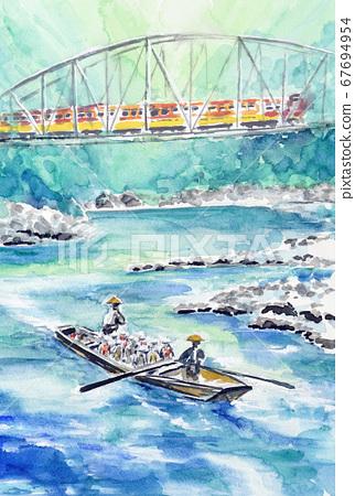 保津峽清溪新鮮的綠色嵐山京都觀光學校遊覽 67694954