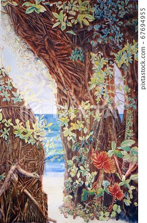 沖繩旅遊榕樹大理石素描Bugembilia 67694955