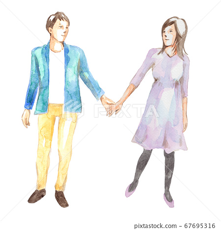Young couple holding hands 67695316