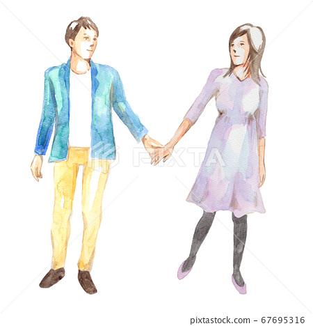 握手的年輕夫婦 67695316
