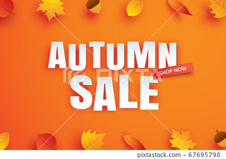 Autumn sale with leaves in paper art style  67695798