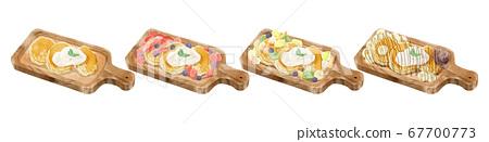四個蓬鬆煎餅插圖集 67700773