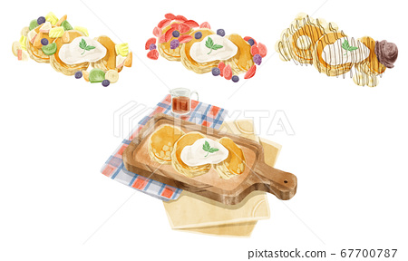四個蓬鬆煎餅插圖集 67700787