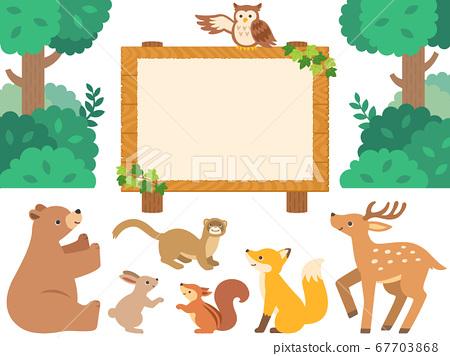 圖組的木牌和森林動物 67703868