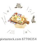 털이 과일 팬케이크 수채화 풍의 일러스트 67706354