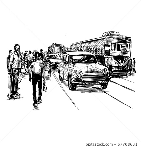 Drawing of the transportation on street in India  67708631