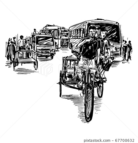 Drawing of the transportation on street in India  67708632