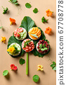 Puffed rice cakes with different toppings friuts and vegetables on white. Vegan snacks. Vertical format. 67708778