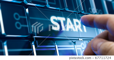 Start - Man Pushing Button on Futuristic Interface. 3D. 67711724