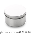 Round metal box on a white background. 67711938