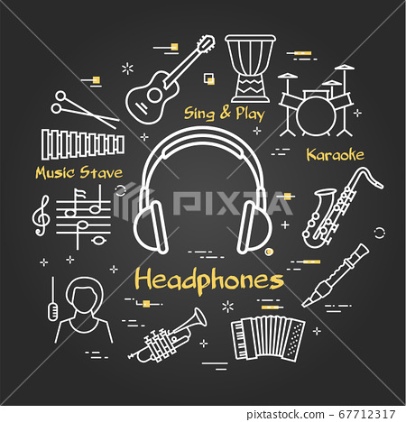 Vector black linear banner for music - vocal headphones 67712317