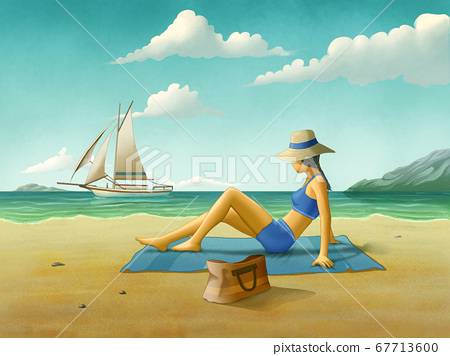 Girl relaxing at the beach 67713600