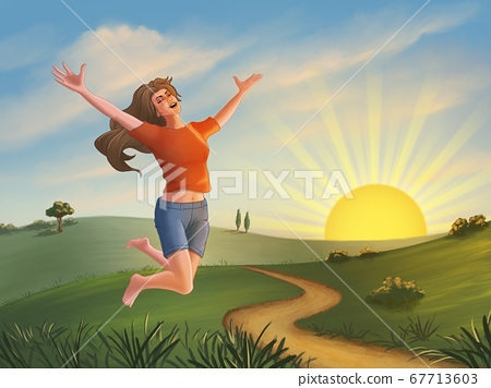 Happy girl jumping over a green landscape 67713603