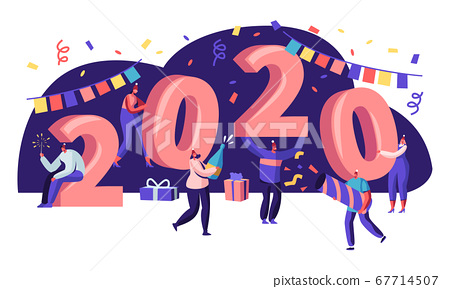 Tiny People Having Fun and Giving Gifts at Huge 2020 Numbers. Greeting Card for Happy New Year Concept. Congratulations, Invitation Poster, Banner, Flyer, Brochure. Cartoon Flat Vector Illustration 67714507