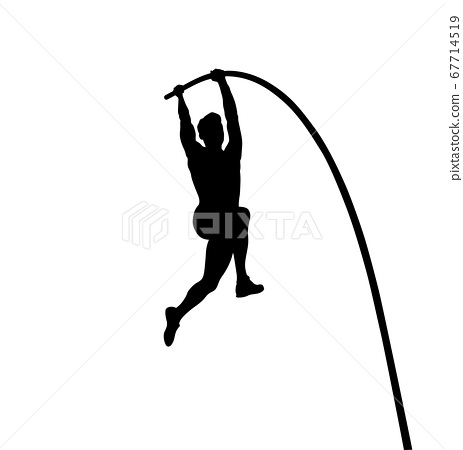 pole vault is track and field event. man athlete black silhouette 67714519
