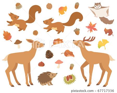 森林動物和秋季圖標集 67717336