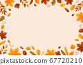 秋天的葉子和橡子背景素材 67720210