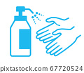 Alcohol disinfection on fingers 67720524