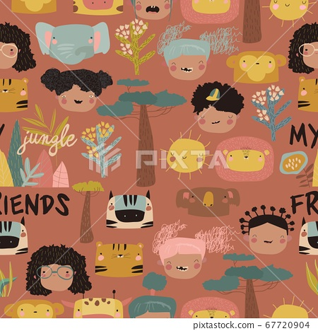 Seamless pattern with cute kids faces and jungle animals 67720904