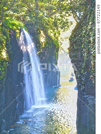 Takachiho Gorge watercolor style 67722149