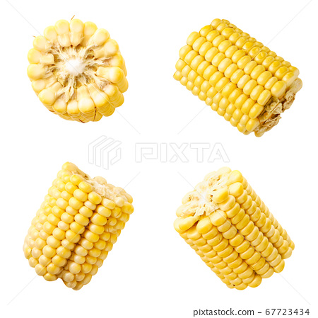 Set of peeled corn slices on a white background. 67723434