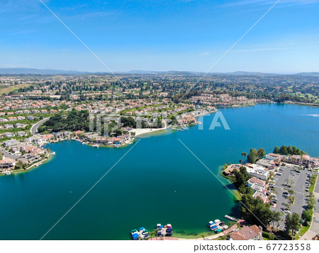 Aerial view of Lake Mission Viejo with private residential and condominium communities. California 67723558