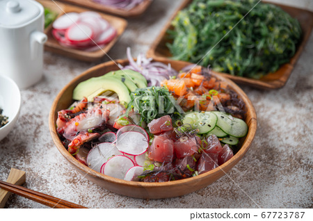 deluxe poke bowl with tuna, octopus and salmon 67723787