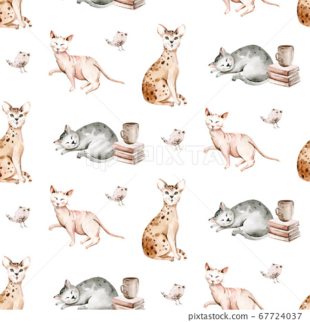 Watercolor Seamless Pattern with cute cartoon cats for Children on the white background. Kids scrapbooking paper and wallwaper design. 67724037