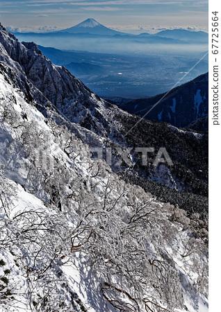 從八嶽山脈和中岳脊看到的富士山 67725664