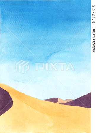 shadow on the sand dunes. Watercolor hand painting illustration. 67727819