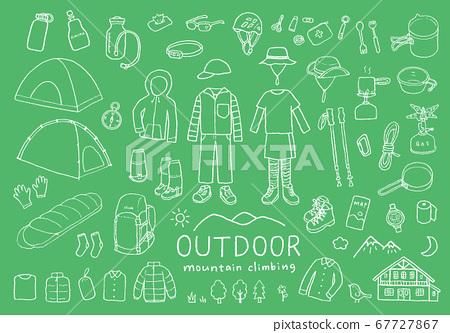 與登山和戶外活動有關的手繪插圖 67727867