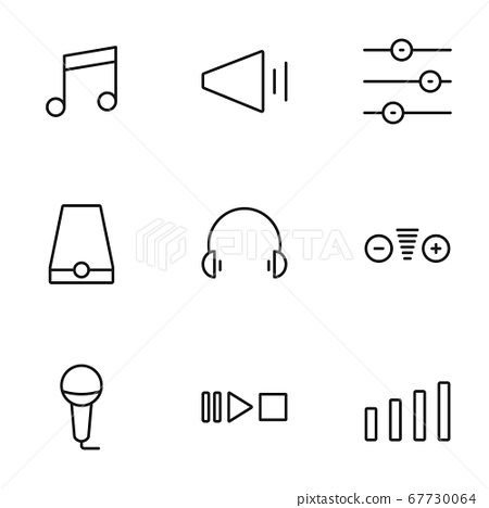 Set of sound volume process line icons contains 67730064