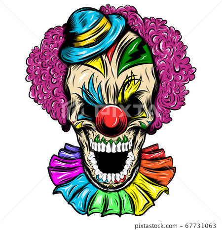 Scary Skull of a clown in a hat 67731063