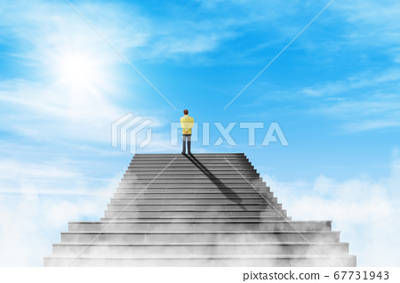 Businessman standing on the top of concrete staircase and looking forward to sky. 67731943