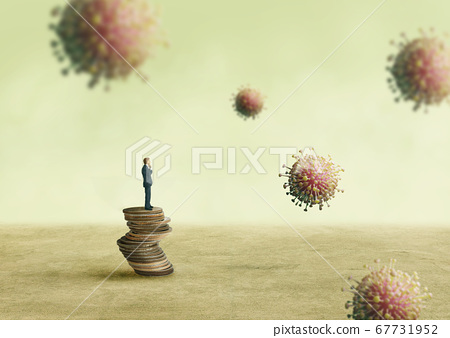 Businessman standing on stacked coins and looking at virus particle floating in air. 67731952