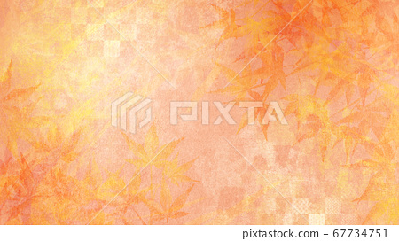 背景插圖具有日本紙秋的質地,秋天的季節性感覺[16:9] 67734751