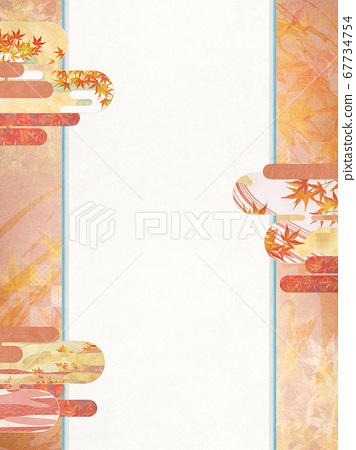 背景插圖具有和紙秋天的紋理,有色葉子的季節感[4:3] 67734754