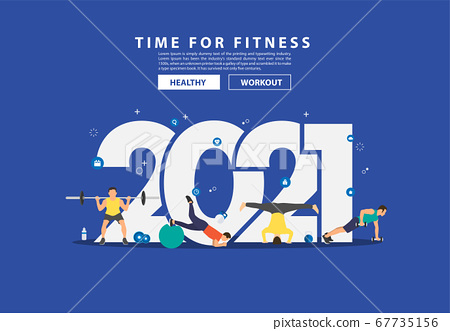 2021 new year fitness ideas concept man workout 67735156