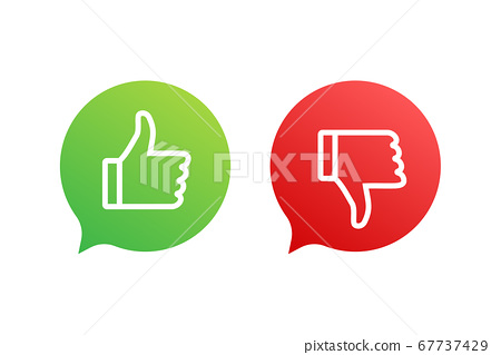 Flat green button on red background. Ok sign. Trumb up, great design for any purposes. Social media concept. Vector stock illustration. 67737429