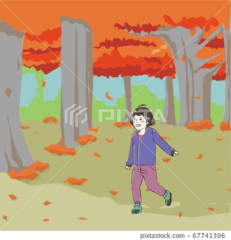 가을 숲에서 노는 아이 67741306