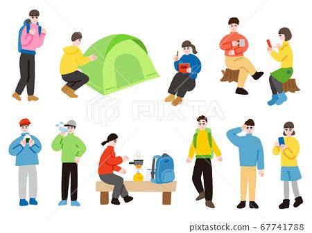 一群喜歡登山和徒步旅行的人 67741788