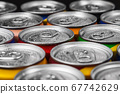 aluminum cans with carbonated water, energy drinks or beer 67742629