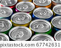 aluminum cans with carbonated water, energy drinks or beer. Background of aluminum cans 67742631