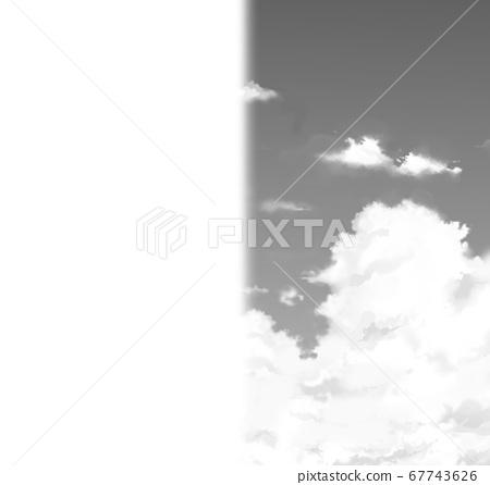 灰色的天空和白雲的插圖與左半邊的白色邊距 67743626