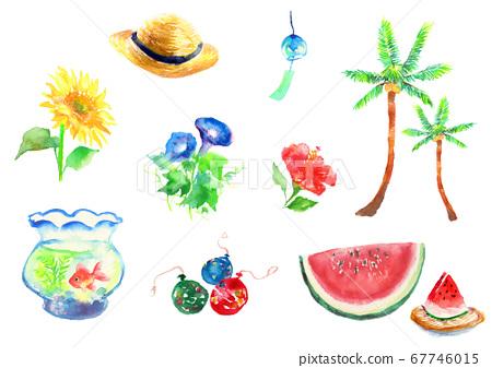 夏季畫水彩畫集 67746015