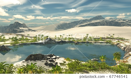 Beautiful natural background -African oasis 3d rendering 67746541